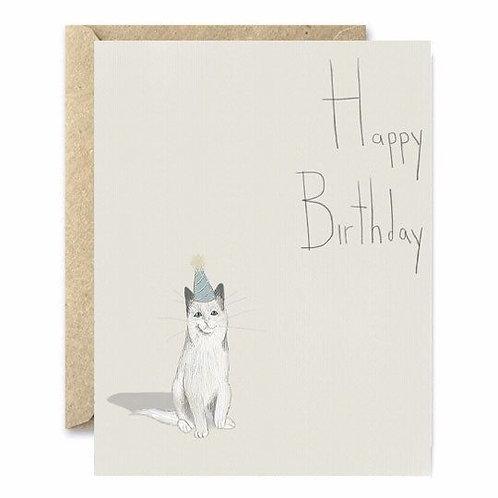 Birthday Hat Cat Greeting Card