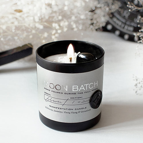 Moon Batch Candle (Nocturnal Garden - Hematite)