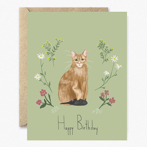 Brown Cat Happy Birthday Greeting Card