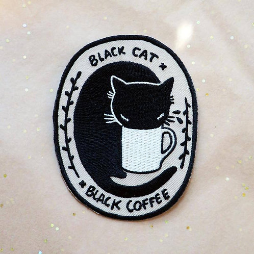 Black Cat Black Coffee Embroidered Iron-on Patch