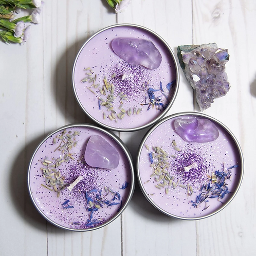 Serenity (Lavender) Crystal Candle