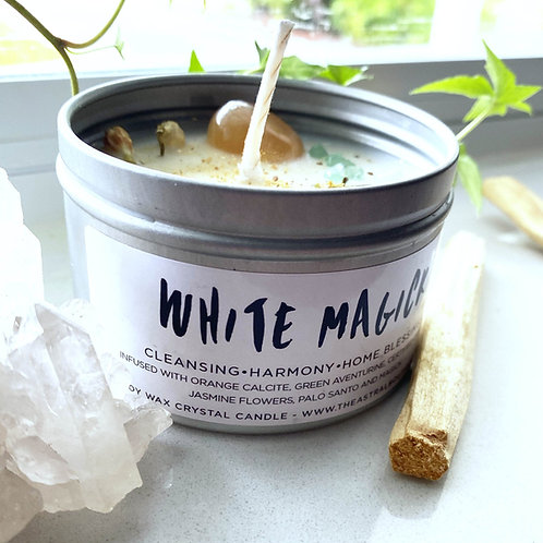 White Magick Crystal Candle