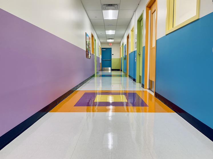 Strip and Wax done to daycare academy's hallways.