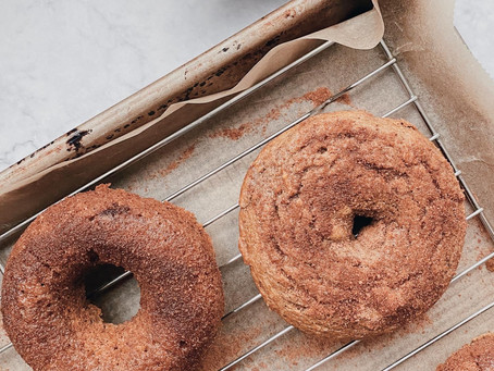 BAKED SWEET POTATO DONUTS WITH CINNAMON SUGAR TOPPING