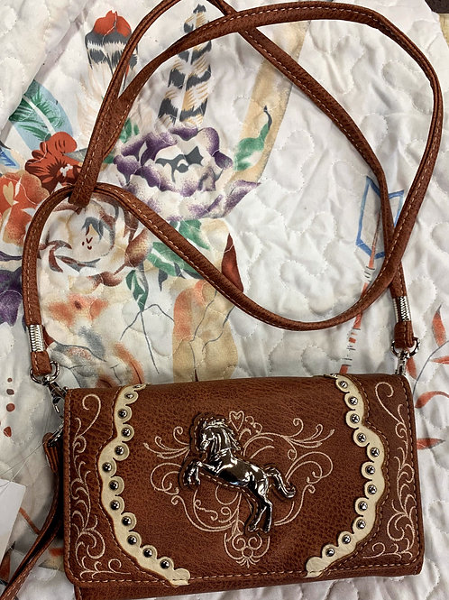 Brown Embroider Cross Body Bag