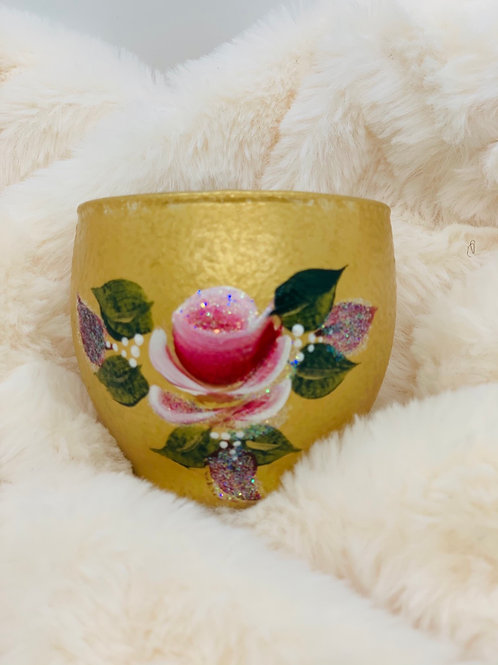 Hand painted Sparkly Votive