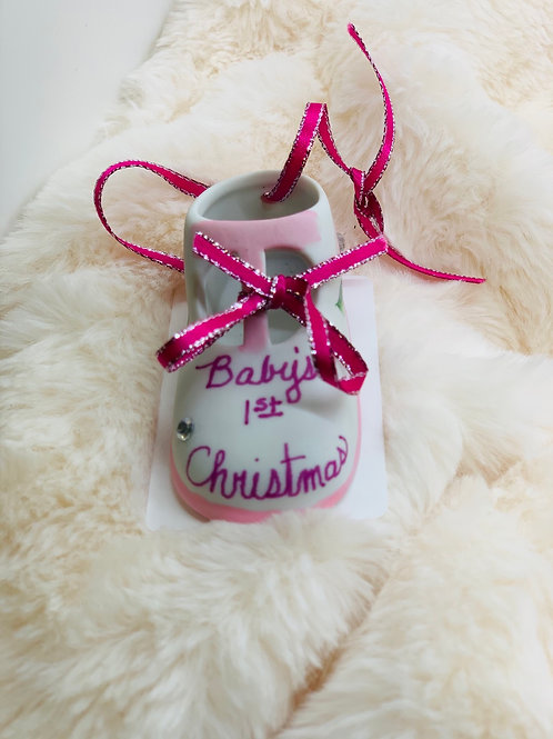 Baby's First Christmas Shoe Ornament