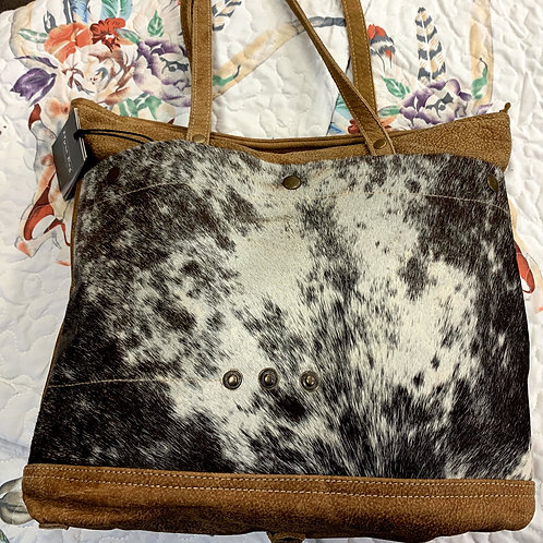 Cocoa and Leather Animal Print Bag