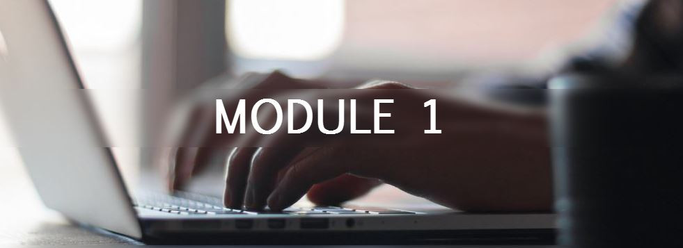 """Image of a person typing on a computer with a text overlay stating, """"Module 1"""""""