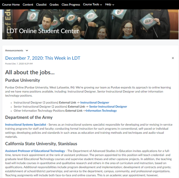 LDT Online Student Center