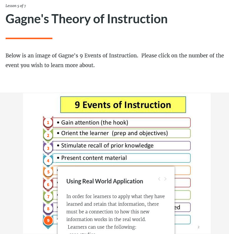 Screenshot of Gagne's Theory of Instruction Lesson created in Articulate's Rise.