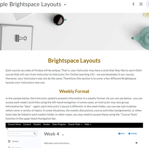 Brightspace Layouts - Online Learning 101