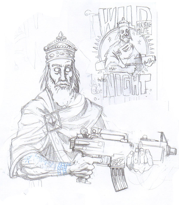 working sketch by lokhaan of a bearded king wearing a crown a robe with jewels holding an automatic weapon gun