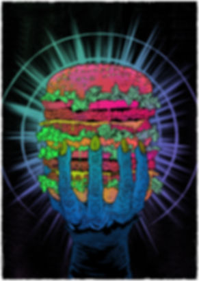 magazine illustration design by lokhaan a gnarled zombie hand holding a huge burger in acid colours