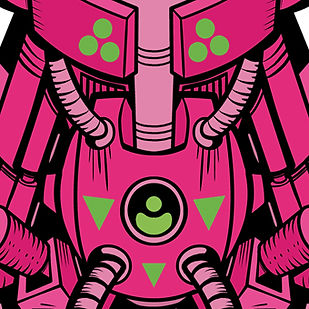 Closeup pink and green cyborg robot arm comic book style illustration by Lokhaan