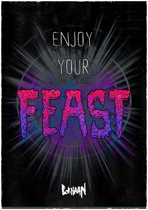 enjoy your feast magazine illustration by lokhaan typography in acid colours