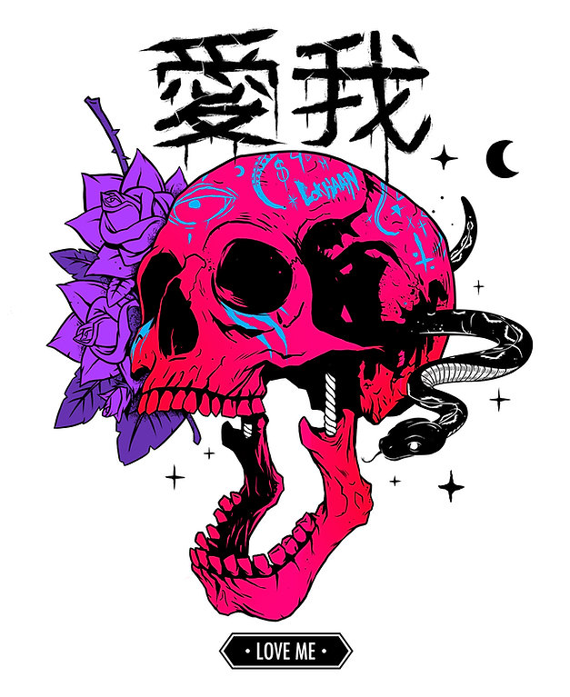 Digital illustration by lokhaan.  Pink skull with blue graffiti japanese characters and a snake tattoo style art.
