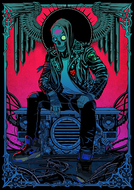 digital colour illustration by lokhaan man with skull face and leather jacket and nikes with art nouveau frame and ornaments