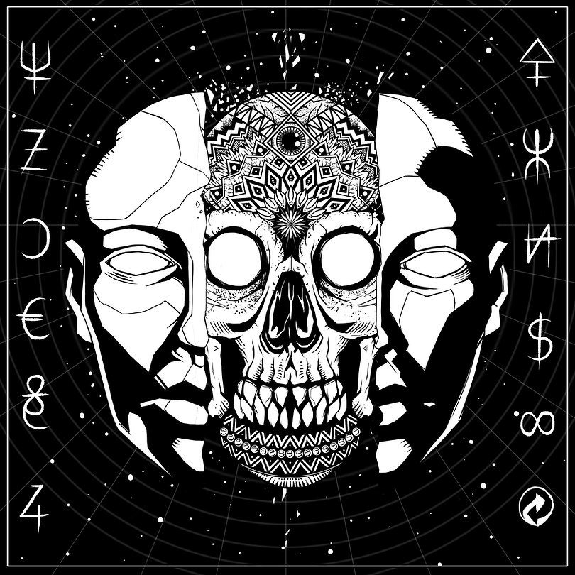 black and white block shading digital illustration by lokhaan of a decorated skull behind a split shattered mask in space with occult themed symbols