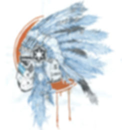 working sketch illustration by lokhaan of a star wars storm trooper wearing a ceremonial native american headdress in blue and orange with graffiti on helmet