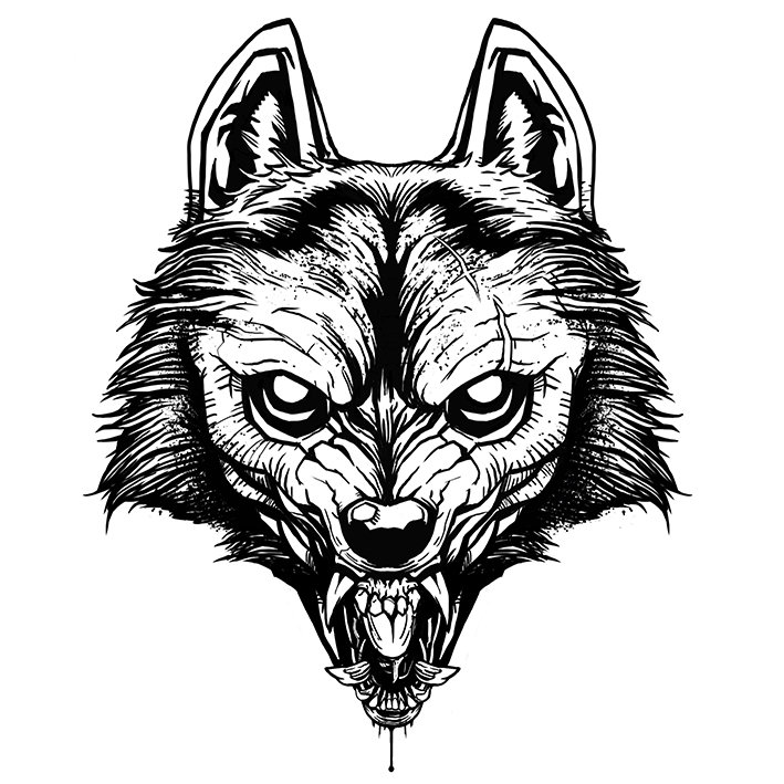 digital illustration by lokhaan black and white outline of a snarling wolf with sharp teeth and block shading