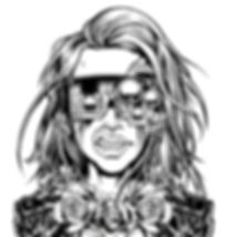 digital illustration by lokhaan black and white outline girl with flowing hair wearing a leather jacket and necklace of roses with cyberpunk steampunk goggles mask