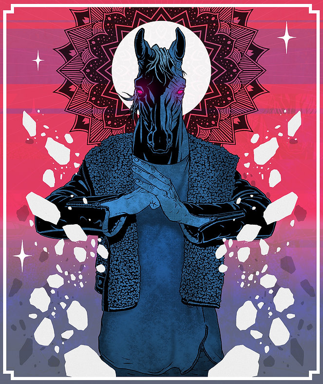 Digital illustration designed by lokhaan. Contrasted horse character wearing leather jacket with mandala and rocks behind, neon acid colours