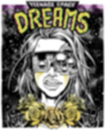 digital illustration by lokhaan in black and white and yellow snarling girl with flowing hair in space wearing a leather jacket and necklace of roses with cyberpunk steampunk goggles mask