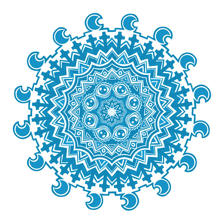 blue mandala work in progress sketch by lokhaan of a mandala with occult theme all seeing eyes crosses crucifixes and crescent moons