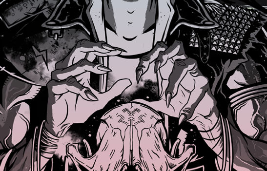 Close up of black and white digital illustration by lokhaan.  Two gnarled hands with claw nails over an animal skull.  warrior leather jacket with shoulder pads and studs.  Occult themed.
