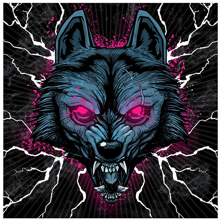 digital illustration by lokhaan of a snarling blue wolf with sharp teeth and glowing pink eyes with lightning background