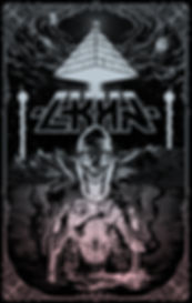 Digital black and white illustration by lokhaan man with skull face and hands over animal skull.  Background of space, mountains, ocean, pyramid.  Occult themed.