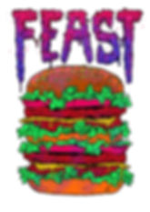 digital junk food themed illustration by lokhaan of a gnarled hand clutching a burger in acid colours