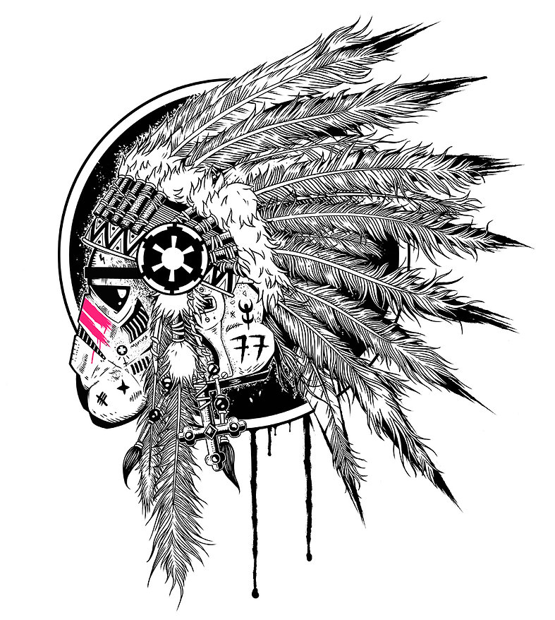 black and white digital illustration by lokhaan of a star wars storm trooper wearing a ceremonial native american headdress with pink stripes and graffiti on helmet