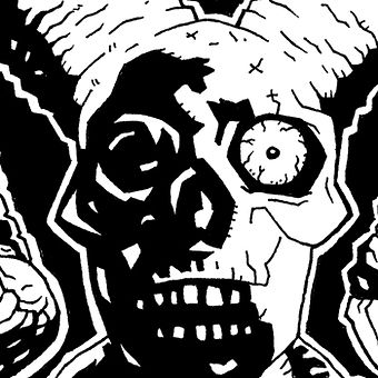 Close up black and white hand drawn ink skull black bones club illustration by Lokhaan