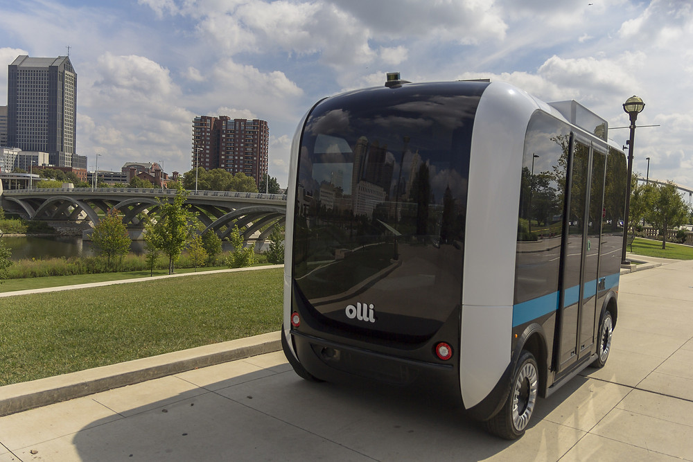Автономные автобусы Olli изготовленные с помощью 3d печати в штате Сакраменто
