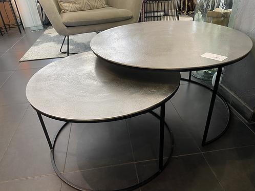 Set de 2 tables basse métal