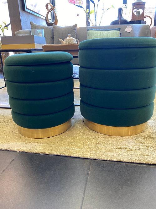 Set de 2 poufs vert bouteille
