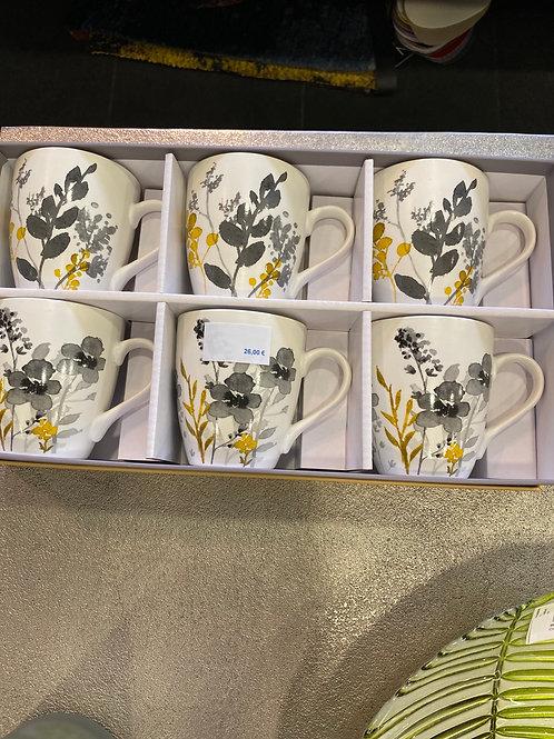Tasses Flora x6 pièces