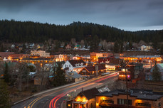 Downtown truckee california lit up at nighttime
