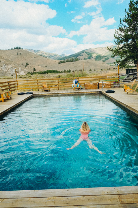Swimming in a natural hot spring, idaho