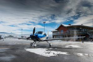 Plane takeoff truckee international airport