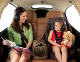 Mother and daughter in private mountian lion aviation plane over truckee california