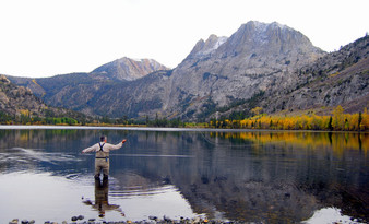Fly fishing in the rocky mountains, peaceful