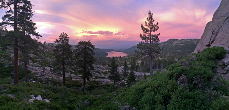 Donner lake at sunset, highway 50 view