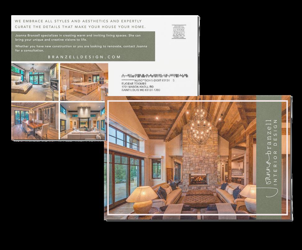 Fresh and modern interior design postcard