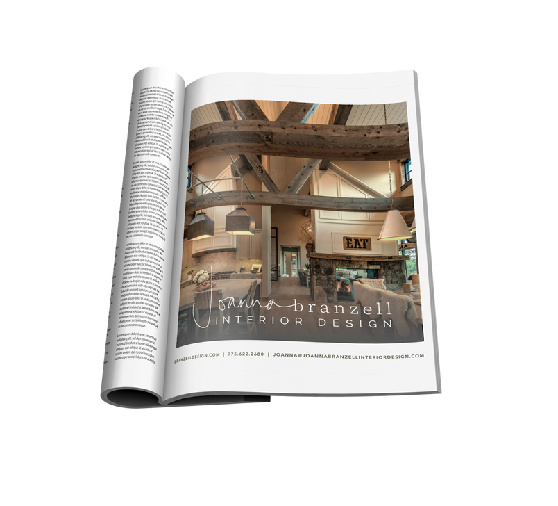Magazine ad with mountain modern home ceiling beams