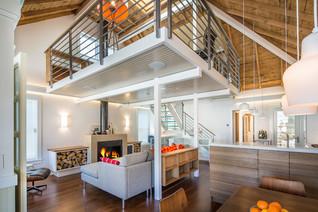 Interior deisgn of a modern loft home with orange colors
