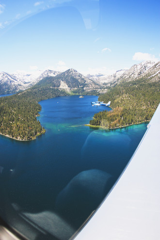 View from Mountain Lion Aviation aircraft lake tahoe west shore, emerald bay