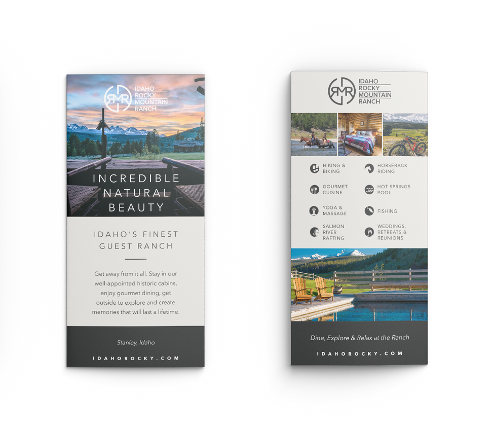 Front and back sunset brochure with icons